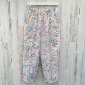 Vintage 80s Pastel Floral High Rise Cropped Pants